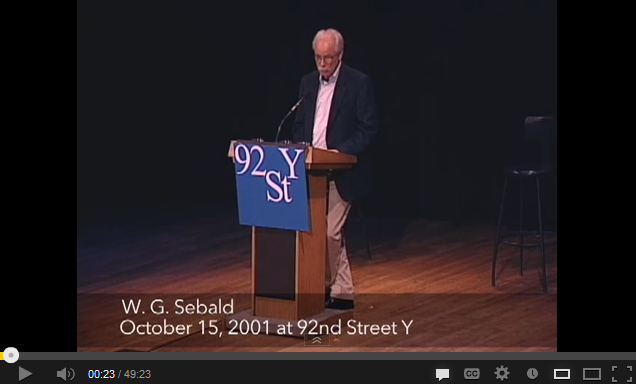 Sebald at 92nd Street Y
